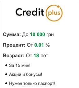 Швидкий онлайн кредит від Credit Plus